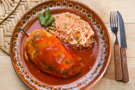 Traditional mexican chiles rellenos Archivio Fotografico