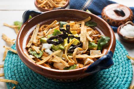 Traditional mexican tortilla soup