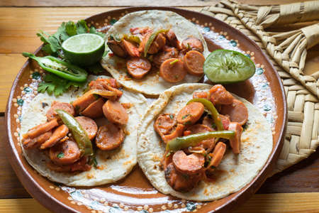 Traditional tacos  mexican sausage stew Stock Photo