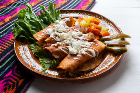Traditional mexican enchiladas style