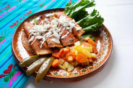 "Traditional mexican enchiladas style ""Queretanas"" Standard-Bild"