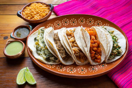 Traditional mexican stew tacos