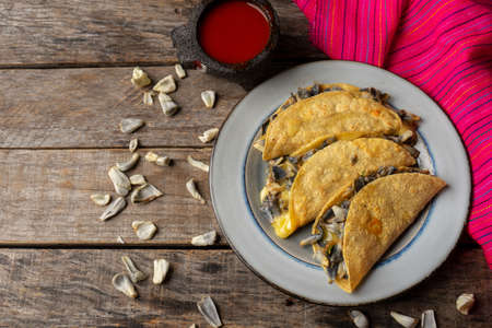 "Traditional mexican corn smut quesadilla also called ""huitlacoche"" on wooden background"