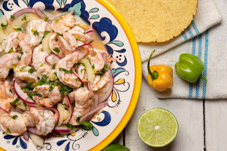 Traditional mexican shrimp raw aguachile on white background Stock Photo