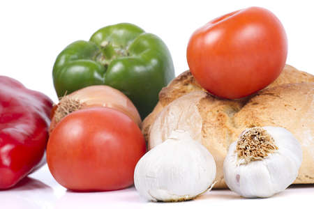garlics: Fresh Bread with Peppers, Tomatoes, Onion and Garlics