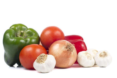 garlics: Peppers, Tomatoes, Onion and Garlics Stock Photo