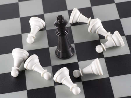 defeated: Black King and White Pawns Defeated