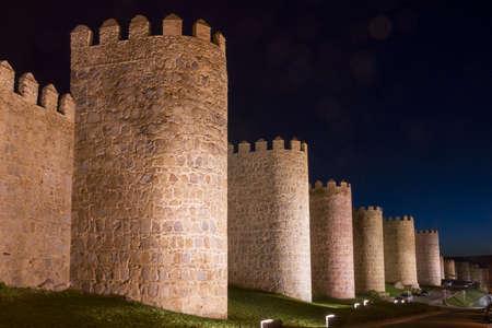 avila: Night View of the City Walls of Avila  Spain   Avila is a City in Central Spain