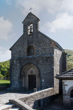 xacobeo: St. James or Pilgrims Church. Roncesvalles. Spain. Gothic XIII century. St. James Way.