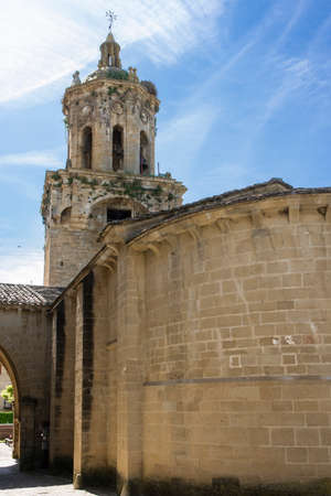 way of st  james: Church of the Crucifix. Puente la Reina, Navarra. Spain. XII century. St. James Way. Stock Photo