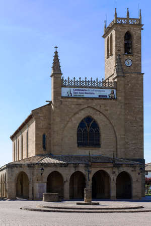 way of st  james: Jhon the Baptist Chuch, Obanos, Navarra, Spain. St. James Way.  Stock Photo