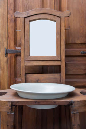 forniture: Old Washbasing and Mirror. Wooden Furniture.