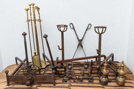 Set of Fireplace Tools Stockfoto