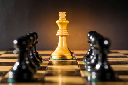 pawn to king: Some Chess Wooden Pieces on Their Board