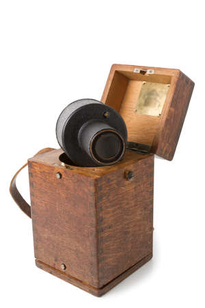 thermography: Old Pyrometer in Wooden Box Isolated on White
