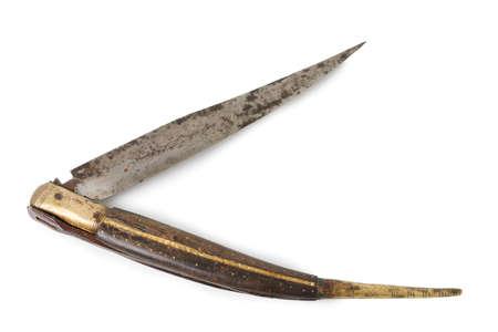 pocket knife: Old Pocket Knife Isolated on White