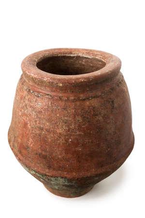 earthenware: Old Earthenware Jar Isolated on White