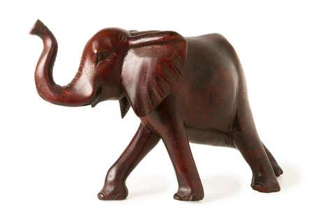 ebony: Old Ebony Elephant Figure Isolated on White Stock Photo