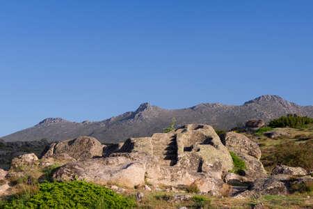 View of Celtic Castro of Ulaca. Avila, Spain. Stockfoto