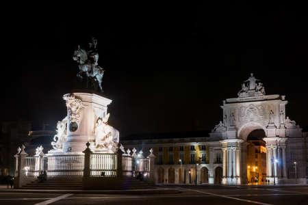 Praca do Comercio at Night, Lisbon, Portugal. Stockfoto