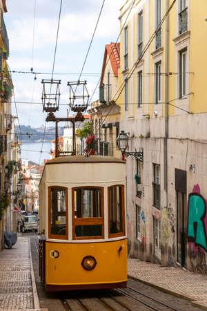 View of Lisbon Trolley Car. Portugal.