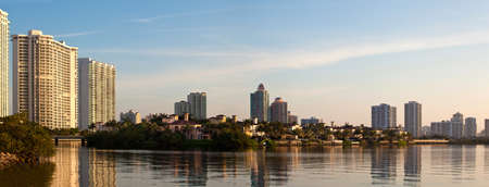 intercoastal: Sunrise in Aventura Florida by the intracoastal waterway