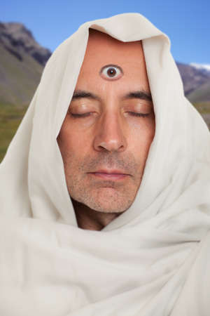 third eye: Spiritual man with a third eye on forehead