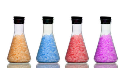 bath salts: Row of bottles of bath salts