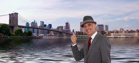 Business man by the Brooklyn Bridge