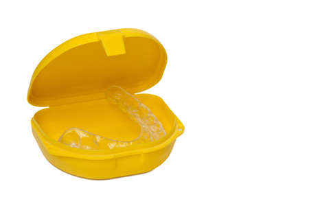 Mouth guard in its container Stock Photo