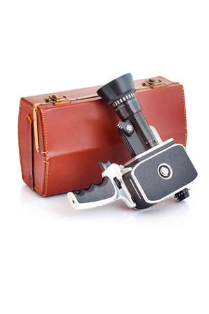 filmmaker: Old film camera with case Stock Photo