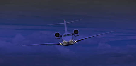 Private jet flying at night  Image