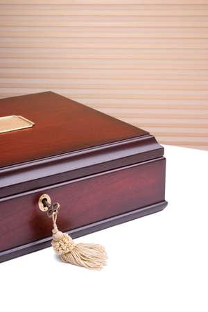key box: Beautiful wooden box with a metal key