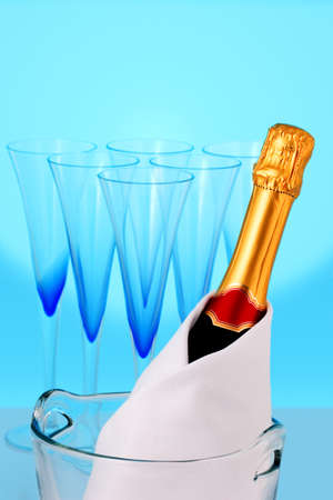 uncork: Champagne bottle and beautiful glasses Stock Photo