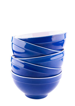 clean dishes: Blue bowls on white background Stock Photo