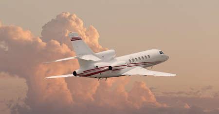 雲の切れ間からフライング プライベート ジェット 写真素材