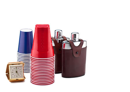 happyhour: A clock, cups and flasks