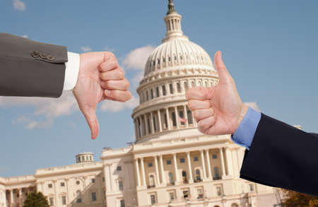 Voting hands in Washington D.C. Stock Photo