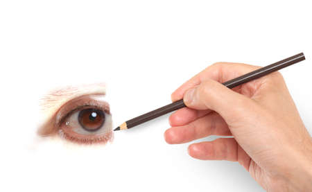 Hand drawing a human eye Stock Photo