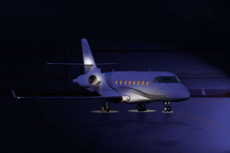 small plane: Private jet at night on the runway