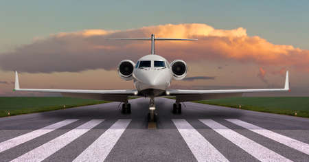 離陸のため滑走路の準備をプライベート ジェット 写真素材