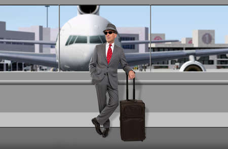 business traveler: Business traveler waiting at airport