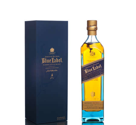 MIAMI, USA - March 14, 2015: Bottle of Johnnie Walker Blue Label. The pinnacle whisky of the House of Walker it is the epitome of blending.