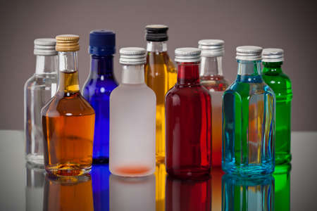 Group of colorful little airline bottles