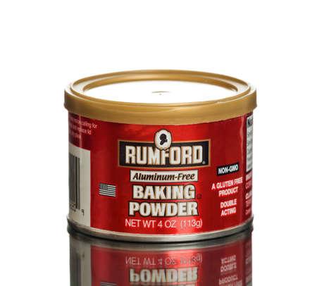 baking powder: MIAMI, USA - March 30, 2015: Can of Rumford Aluminum-free Baking Powder gluten free double acting. NET WT 4OZ.