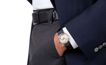 Close up of a mans hand wearing a watch