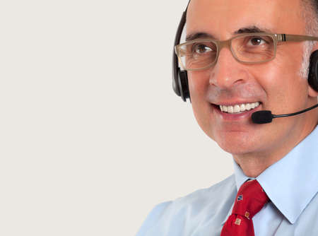 Close up of a man wearing a headset 版權商用圖片