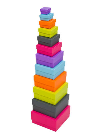 Stacked colorful packaging boxes
