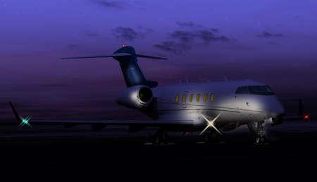 Nocturnal shot of a private jet Reklamní fotografie