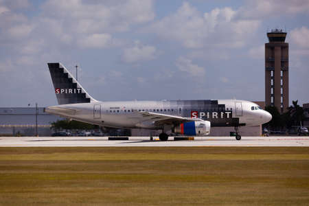 FORT LAUDERDALE, USA - JUNE 1, 2015: A Spirit Airlines Airbus A320 taxiing at the Fort LauderdaleHollywood International Airport, Florida. Spirit Airlines has its operating base in Fort Lauderdale.